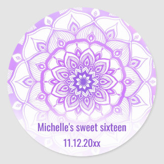 Tribal Bohemian Mandala Purple Sweet Sixteen Classic Round Sticker