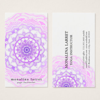 Tribal Bohemian Purple Watercolor Mandala Drawing Business Card