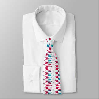 Tribal Boho Arrows Red Turquoise Feather Bohemian Tie