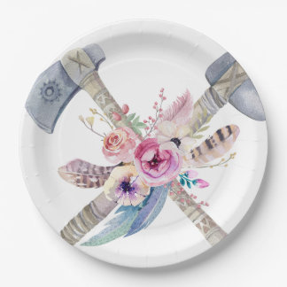 Tribal Boho Chic Feathers Arrows Flowers Plate