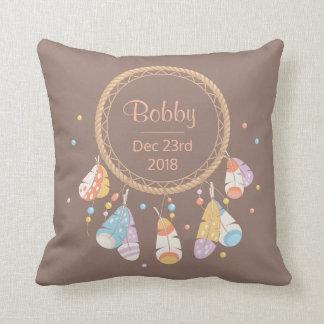Tribal Boho Dreamcatcher New Baby Keepsake Cushion