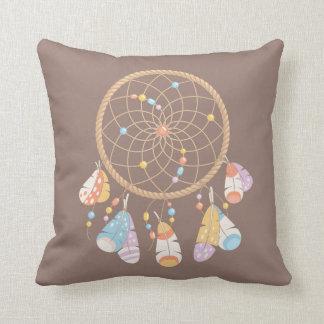 Tribal Boho Dreamcatcher on Brown Cushion