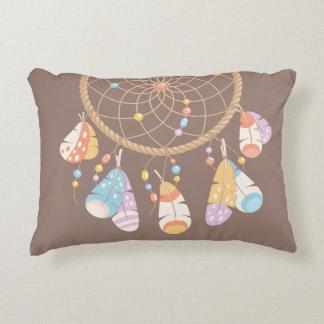 Tribal Boho Dreamcatcher on Brown Decorative Cushion