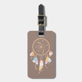 Tribal Boho Dreamcatcher on Brown Luggage Tag