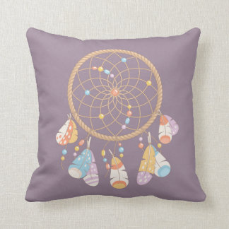 Tribal Boho Dreamcatcher on Purple Cushion