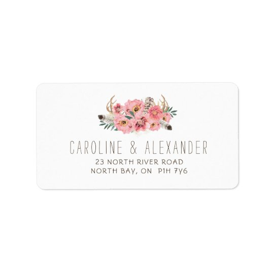 Tribal Boho Feathers Address Labels