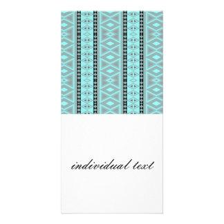 tribal border pattern  vertical, aqua (I) Customised Photo Card