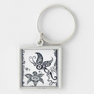 Tribal butterfly in black ink keychain