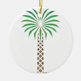 Tribal Canary Date Palm Round Ceramic Decoration