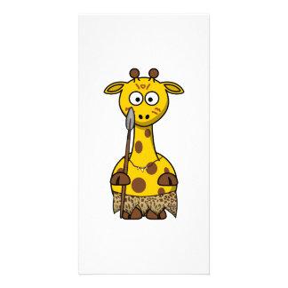 Tribal Cartoon Giraffe Customized Photo Card