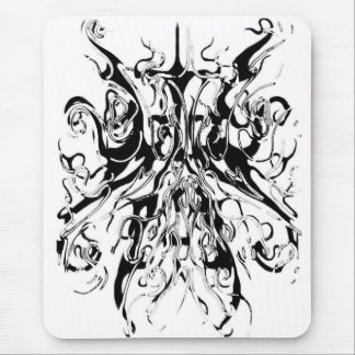 Tribal Chaos Tattoo Black and White Distortion Mouse Mat