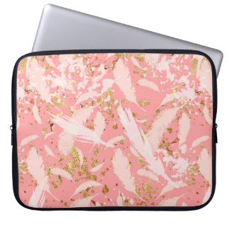 Tribal Chic White Feathers Pink Laptop Sleeve