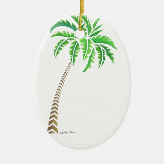 Tribal Coconut Palm Tree Ceramic Oval Decoration