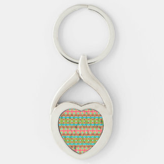 Tribal colorful pattern Silver-Colored twisted heart key ring