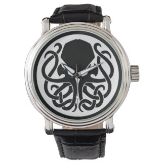 Tribal Cthulhu Black Vintage Leather Watch
