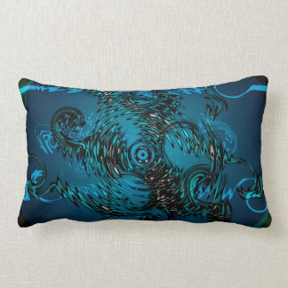 Tribal Deep Blue  Swirls Lumbar Cushion
