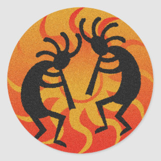 Tribal Desert Sun  Southwest Kokopelli Round Sticker