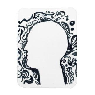 Tribal design silhouette head rectangular magnet