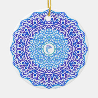 Tribal Dolphin Mandala Round Ceramic Decoration