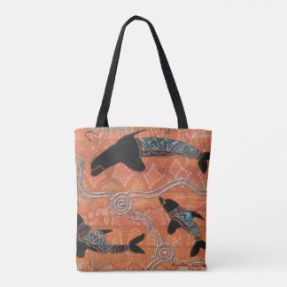 Tribal Dolphins Aboriginal Tote Bag