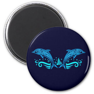Tribal Dolphins button Magnet