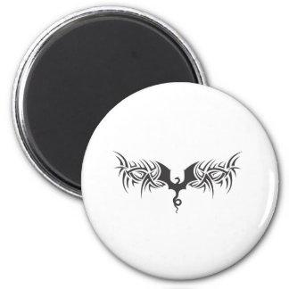 tribal dragon 6 cm round magnet