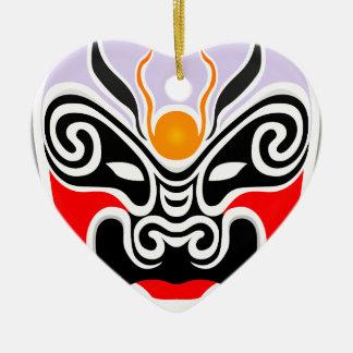 Tribal Dragon Mask Ceramic Heart Decoration