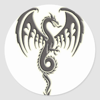 Tribal dragon round sticker