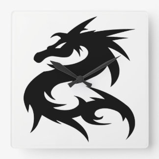 Tribal Dragon Silhouette Square Wall Clock