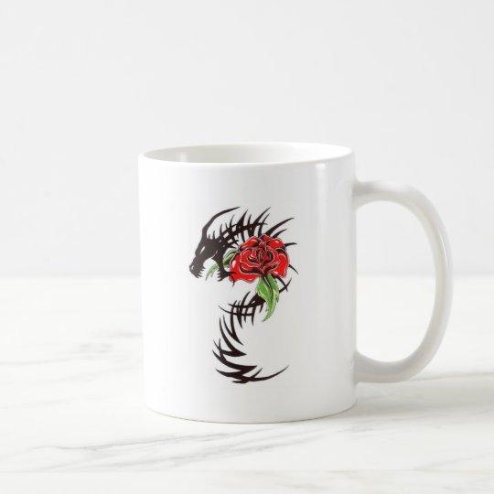 tribal dragon with rose coffee mug