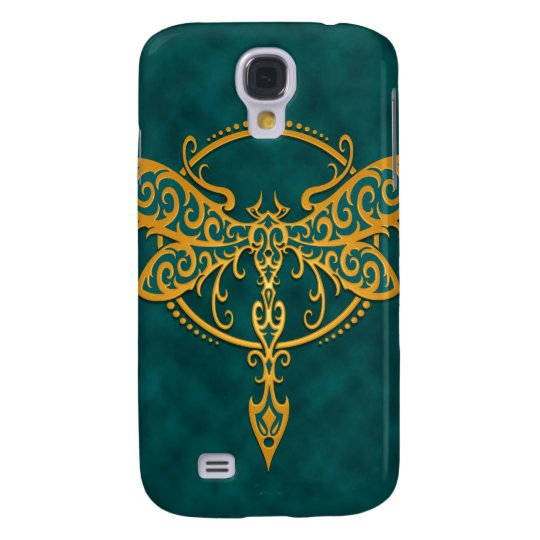 Tribal Dragonfly – golden blue Galaxy S4 Case