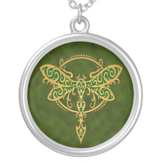 Tribal Dragonfly – golden green Silver Plated Necklace