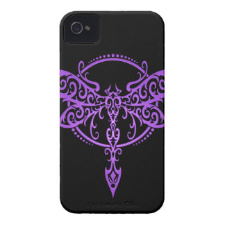 Tribal Dragonfly, Purple and Black iPhone 4 Case-Mate Cases