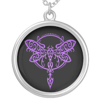 Tribal Dragonfly – purple & black Silver Plated Necklace