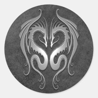 Tribal Dragons, dark Round Stickers