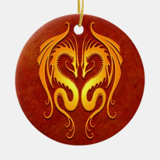 Tribal Dragons, red and yellow Christmas Ornament