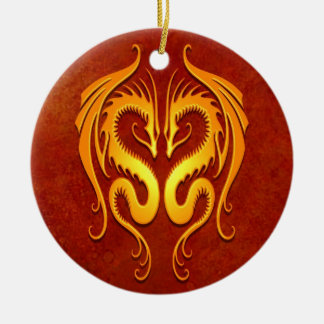 Tribal Dragons, red and yellow Round Ceramic Decoration
