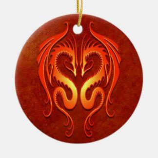 Tribal Dragons, red Christmas Ornament