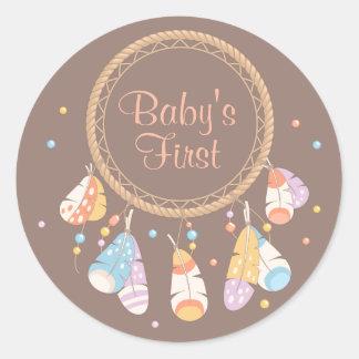 Tribal Dreamcatcher Boho Baby First 1st Birthday Classic Round Sticker