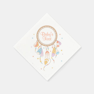 Tribal Dreamcatcher Boho Baby First 1st Birthday Disposable Napkins