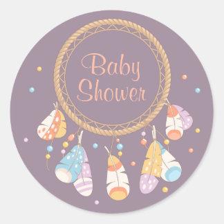 Tribal Dreamcatcher Boho Baby Shower Purple Classic Round Sticker