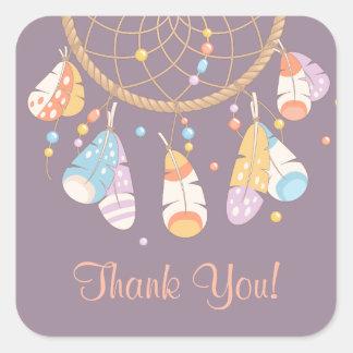 Tribal Dreamcatcher Boho Thank You Purple Square Sticker