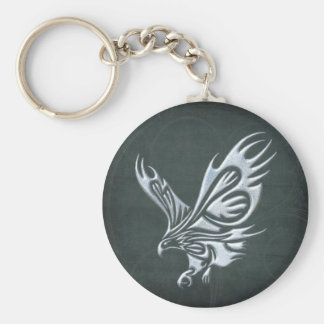 Tribal Eagle Basic Round Button Key Ring
