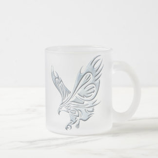 Tribal Eagle Frosted Glass Coffee Mug