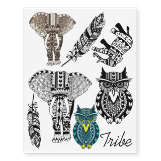 Tribal Elephant Owl & Feathers