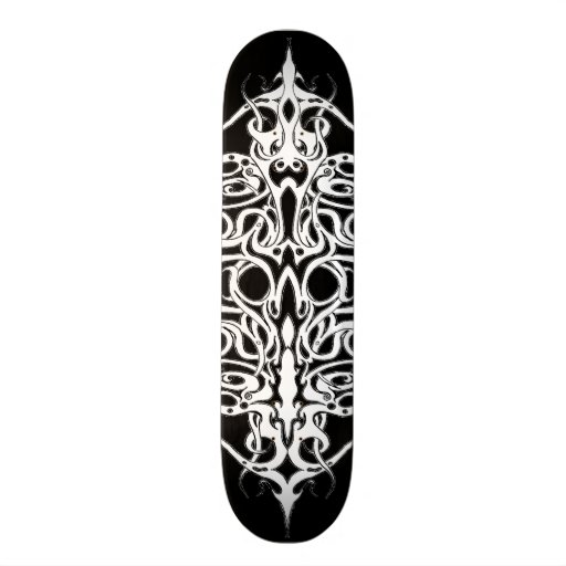 Tribal Empire Tattoo Black and White Skate Board