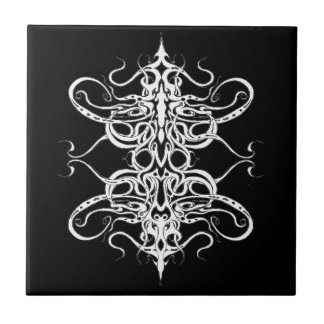 Tribal Empire Tattoo - black and white Small Square Tile