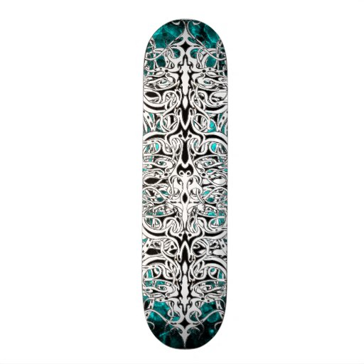 Tribal Empire Tattoo Black and White with blue Skate Board