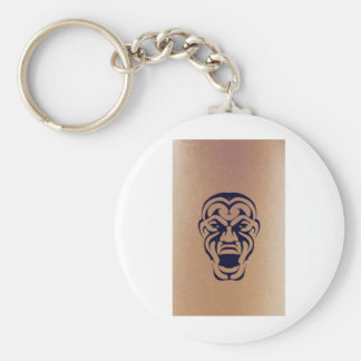 Tribal Face Tattoo Basic Round Button Key Ring