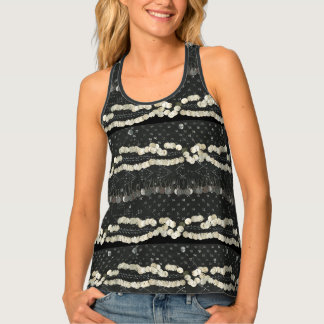Tribal Faux Assuit and Coins Belly Dance Tank Top